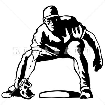 Sports Clipart Image of Black White Fielding Infield Baseball.