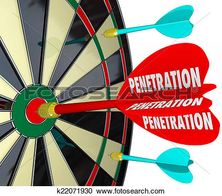 Stock Photography of Penetration Word on 3d Red Dart Board.