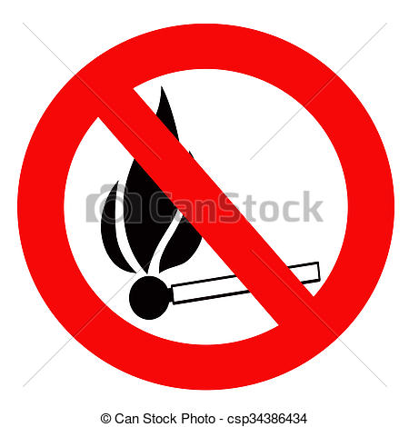 """Drawings of Red prohibition sign """"Inflammable"""" . csp34386434."""