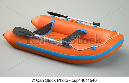 Drawing of Inflatable boat on grey background csp14611540.