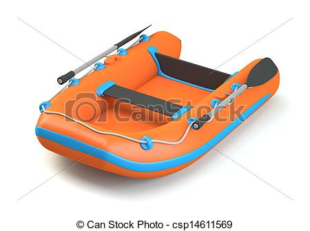 Stock Illustration of Inflatable boat isolated on white background.