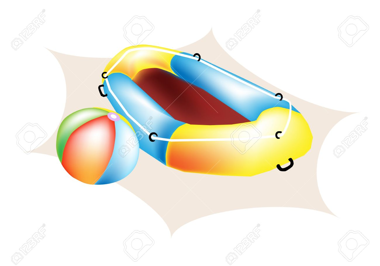 An Illustration Of Colorful Beach Ball And Yellow Inflatable.