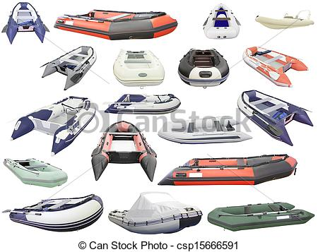 Stock Illustration of Inflatable boats under the white background.