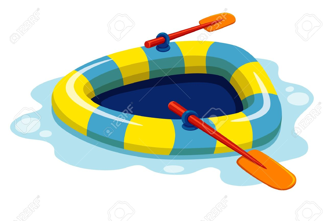 Illustration Of Inflatable Boat Vector Royalty Free Cliparts.