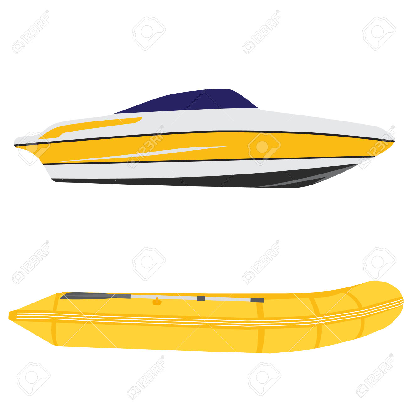 Illustration Of Luxury Yacht And Yellow Rubber Boat, Inflatable.