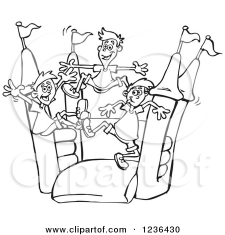 Inflatable Slide House Black And White Clipart