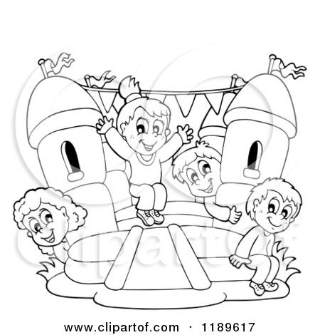 Cartoon of a Colorful Bouncy House Castle.