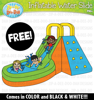 FREE Inflatable Water Slide Clipart Graphic {Zip.