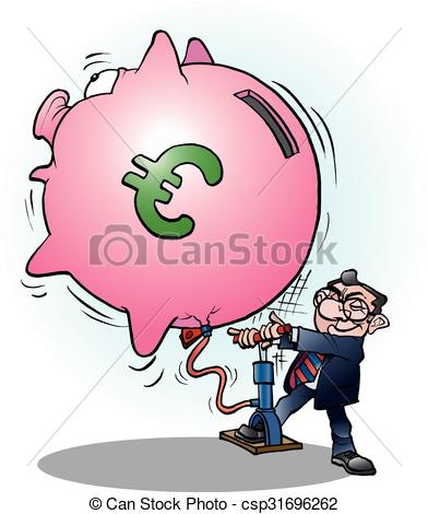 Clip Art Vector of Businessman inflated economy Euro.