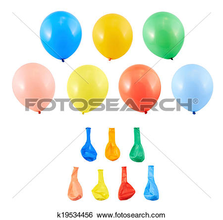 Stock Images of Set of inflated and deflated balloons k19534456.