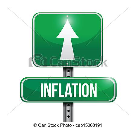 EPS Vectors of inflation road sign illustration design over white.