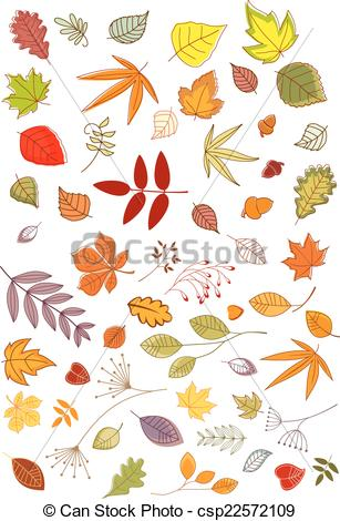 Vector Clipart of Autumn leaves and inflorescences.