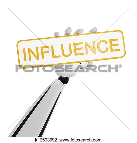 Stock Illustration of INFLUENCE word on arrow pointer k12887949.