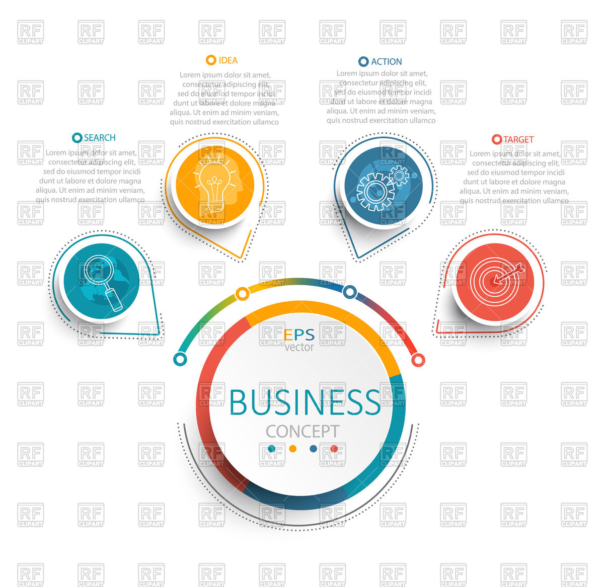 Infographic template with 3D circles color paper Stock Vector Image.