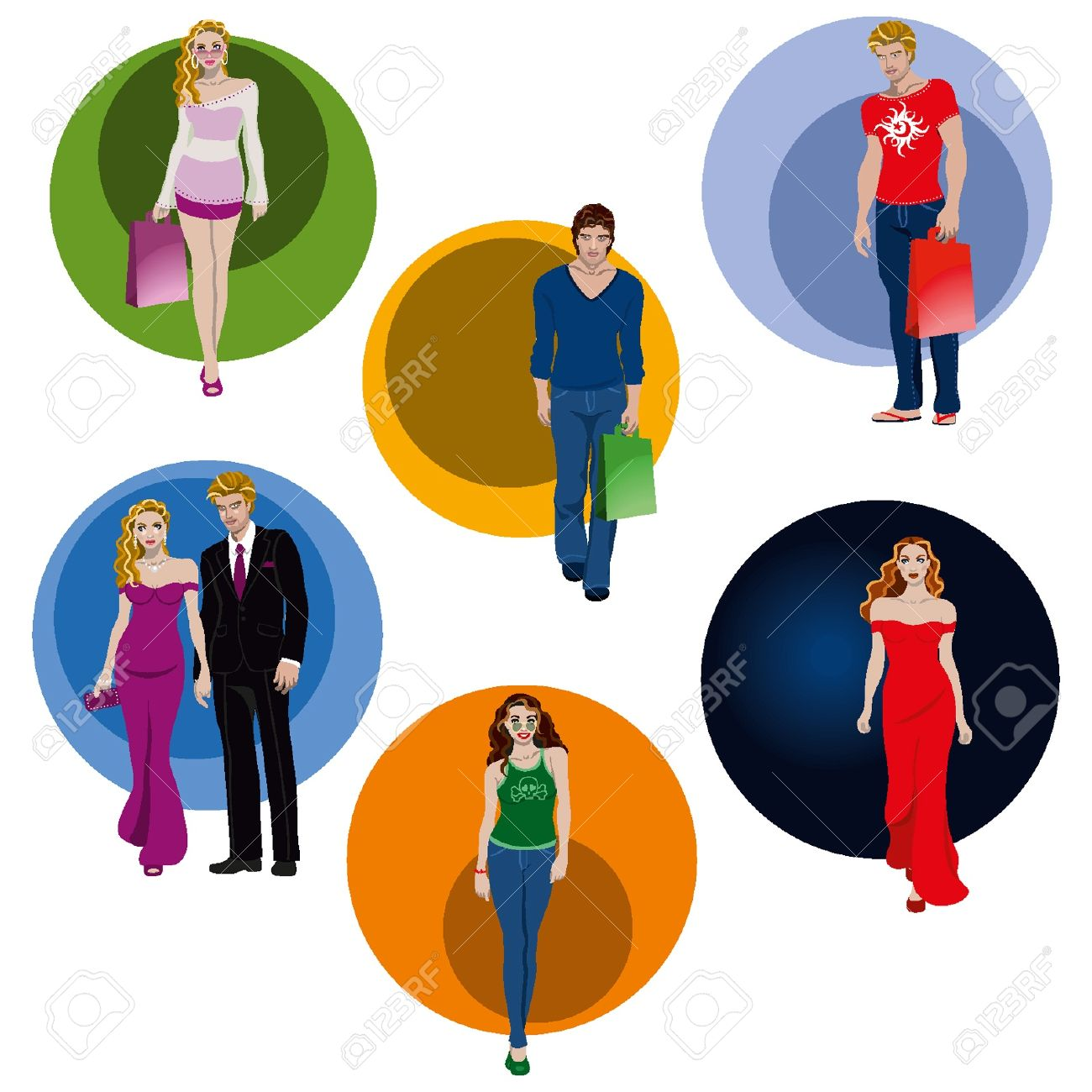 Young People Varied, Elegant Dresses And Informal Royalty Free.