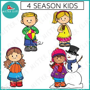 Four Season Kids Freebie {Mister Clips Clipart}.