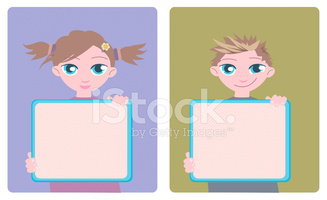 Kids With A Information Boards stock vectors.