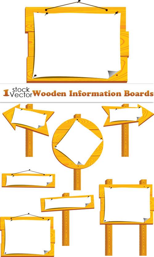 Set of Wooden vector Information Boards.