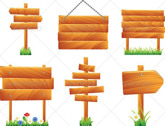 Wooden Signs and Boards, Vector Set.