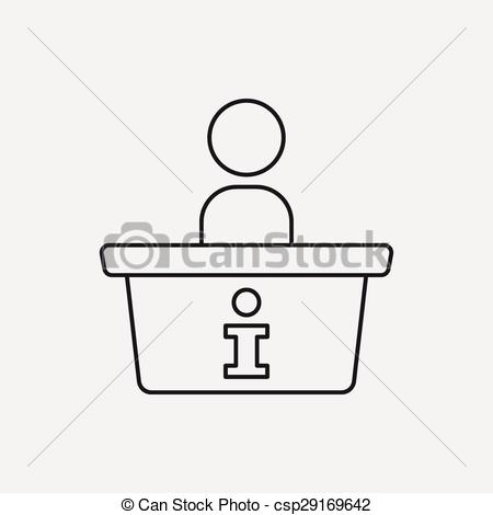 EPS Vector of information desk line icon csp29169642.