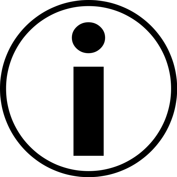 Universal information symbol medium 600pixel clipart, vector clip.