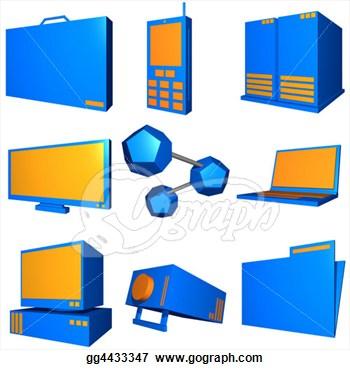 Information Technology Symbols Clip Art.