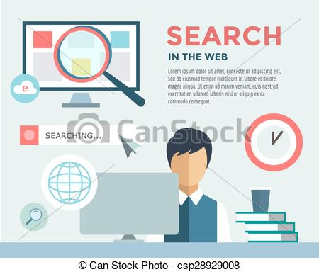 Vector Clipart of Clerk at Work infographic. Office, Table, Search.