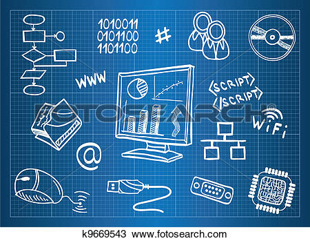 Clipart of Blueprint of computer hardware and information.