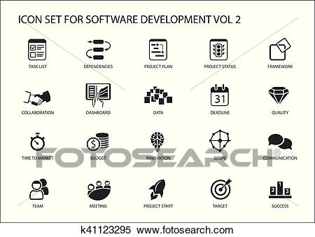 Software development icon set. Vector symbols to be used for Software  development and information technology Clipart.