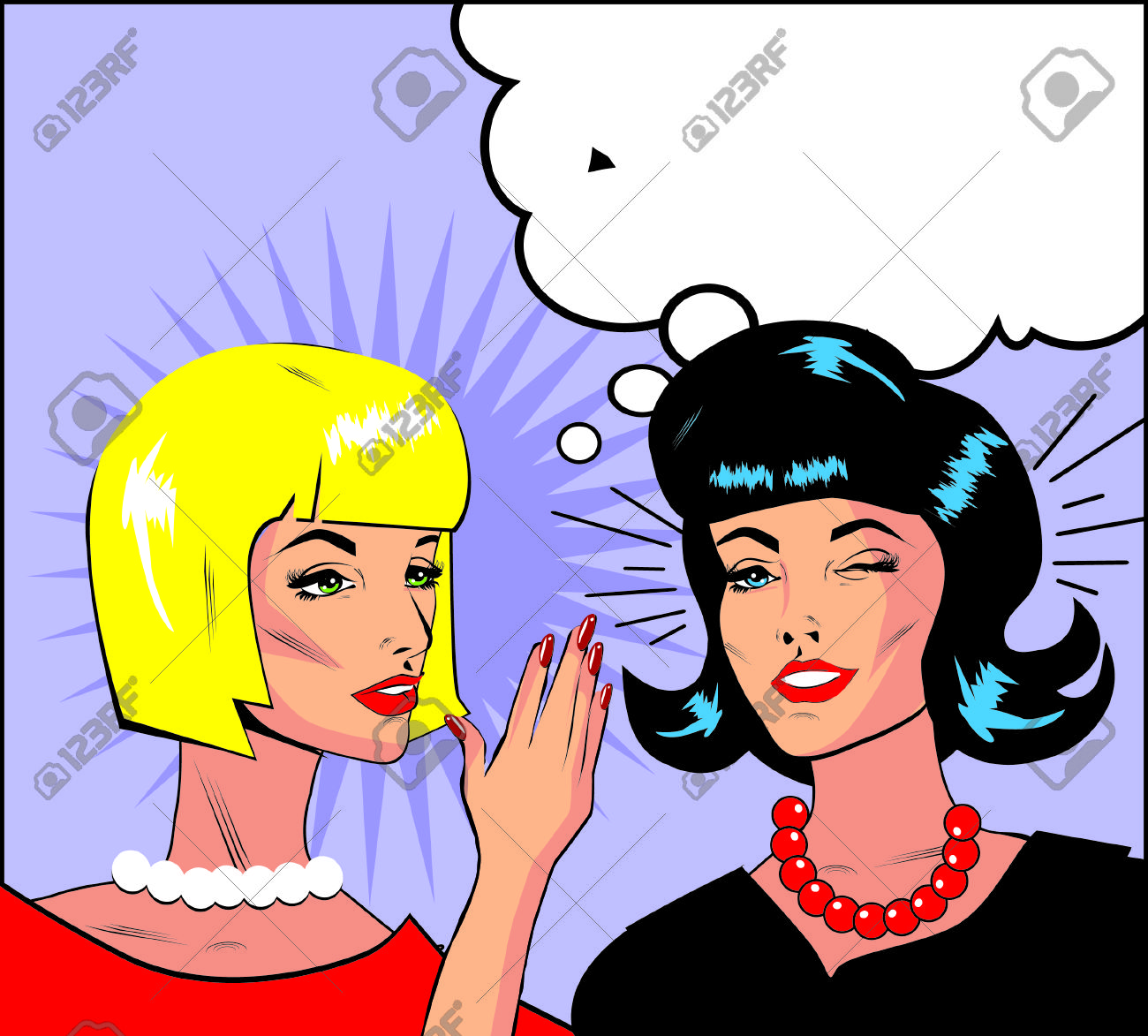 Informer Clipart Illustration Of Two Gossiping Retro Women Banner.