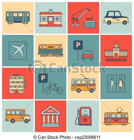 Vector Clip Art of City Infrastructure Icons.