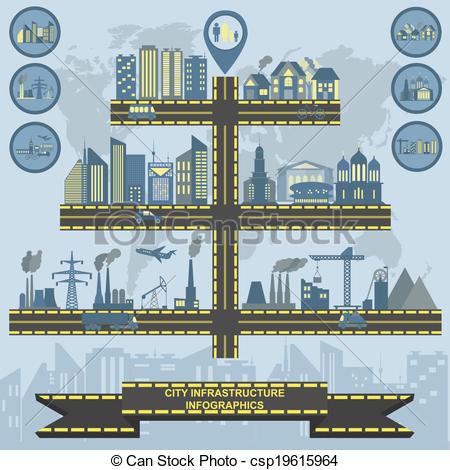 Clip Art Vector of Set of elements infrastructure city, vector.