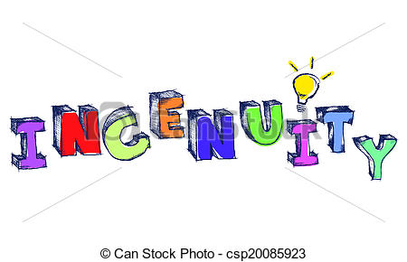 Clip Art of Sketchy colorful word Ingenuity with light bulb.