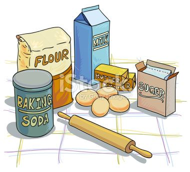 Baking ingredients clipart.