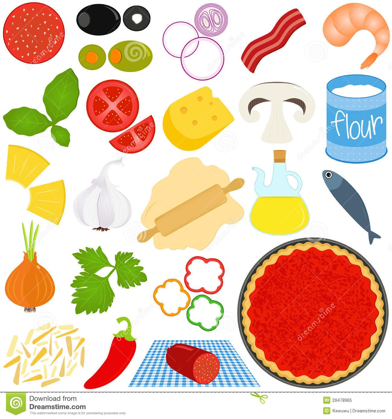 Pizza Toppings Clipart Ingredients To Make Pizza.
