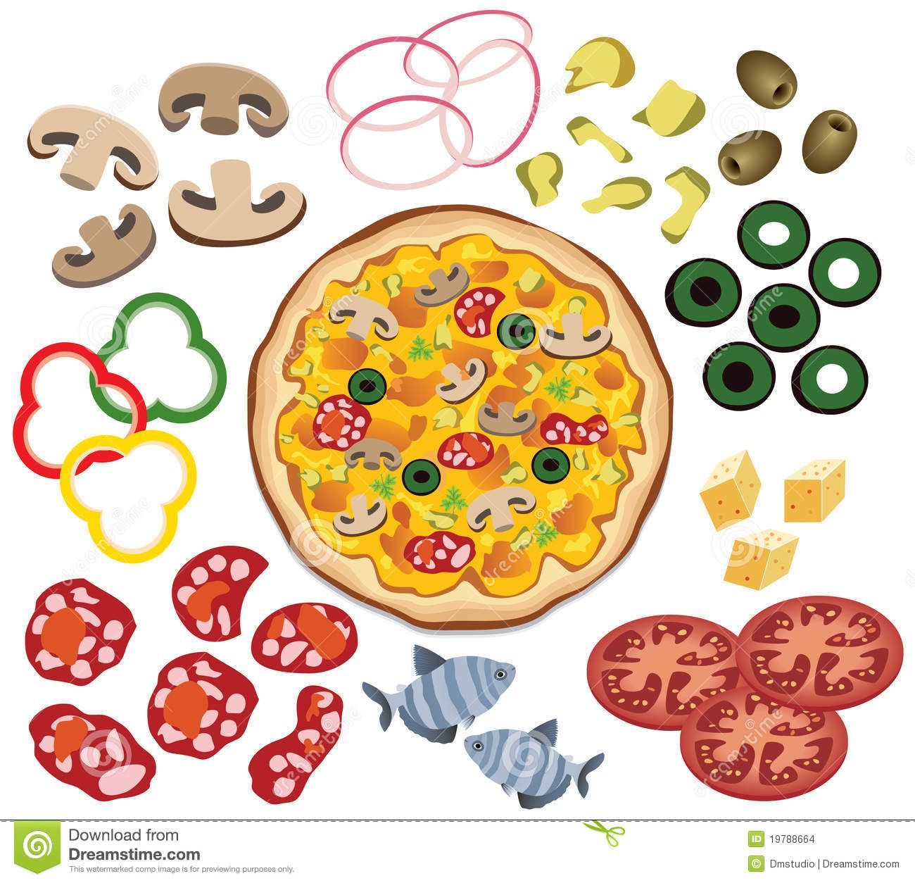 Photo about vector pizza and ingredients for your design.