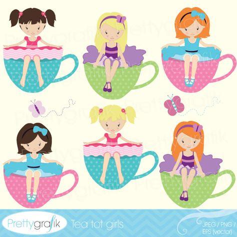 Tea party girl clipart.