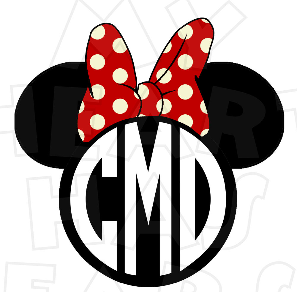 Monogram Mickey Mouse ears heads PERSONALIZED initials digital.