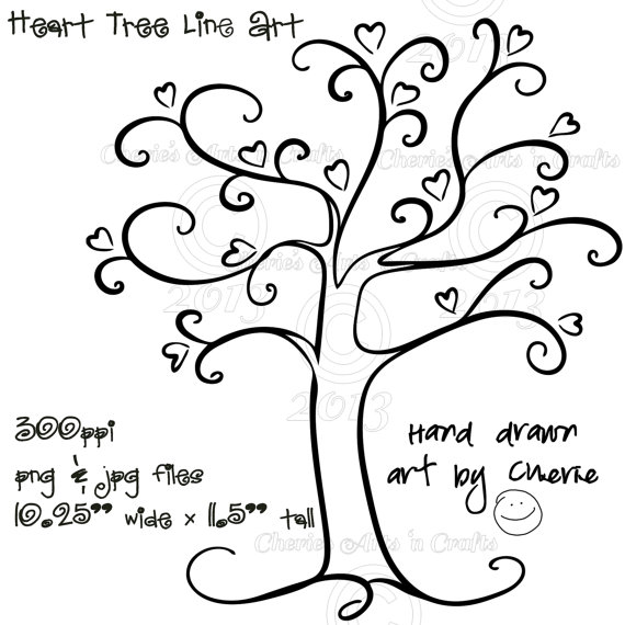 Heart Tree PNG and JPG Graphics, Digital Download File, Tree Clip.