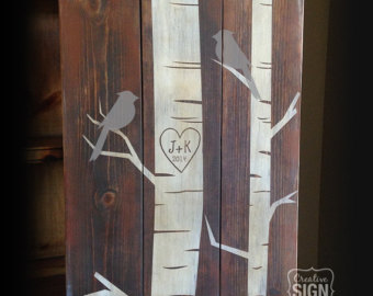 Carved initials tree.