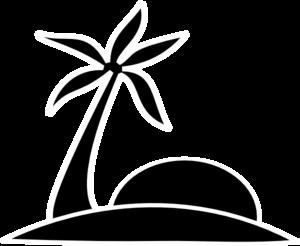 Palm Tree Beach W/sun clip art.