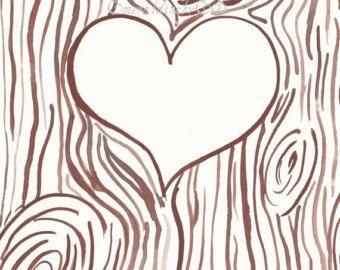 Heart Carved In Tree Clipart.