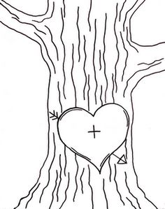 Template for Initials carved into a tree trunk, JPG file.