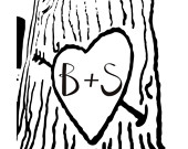Items similar to heart carved on a tree with initials carved in.