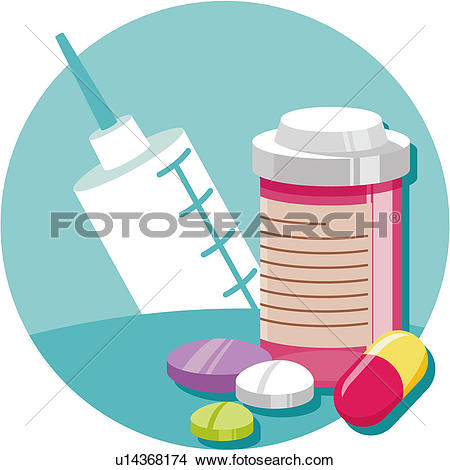 Clipart of pill, syringe, injector, medical science, hi.