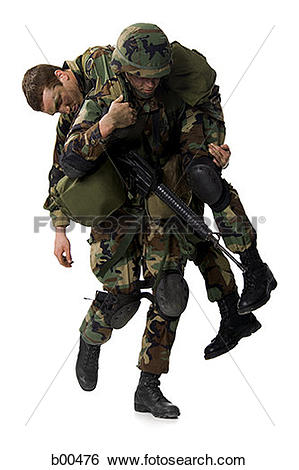 Stock Images of Soldier carrying an injured soldier on his.