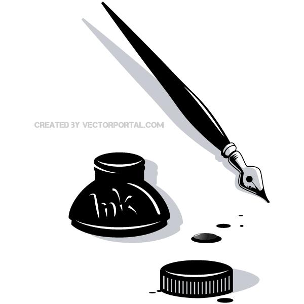 Ink Pen Vector Clip Art.
