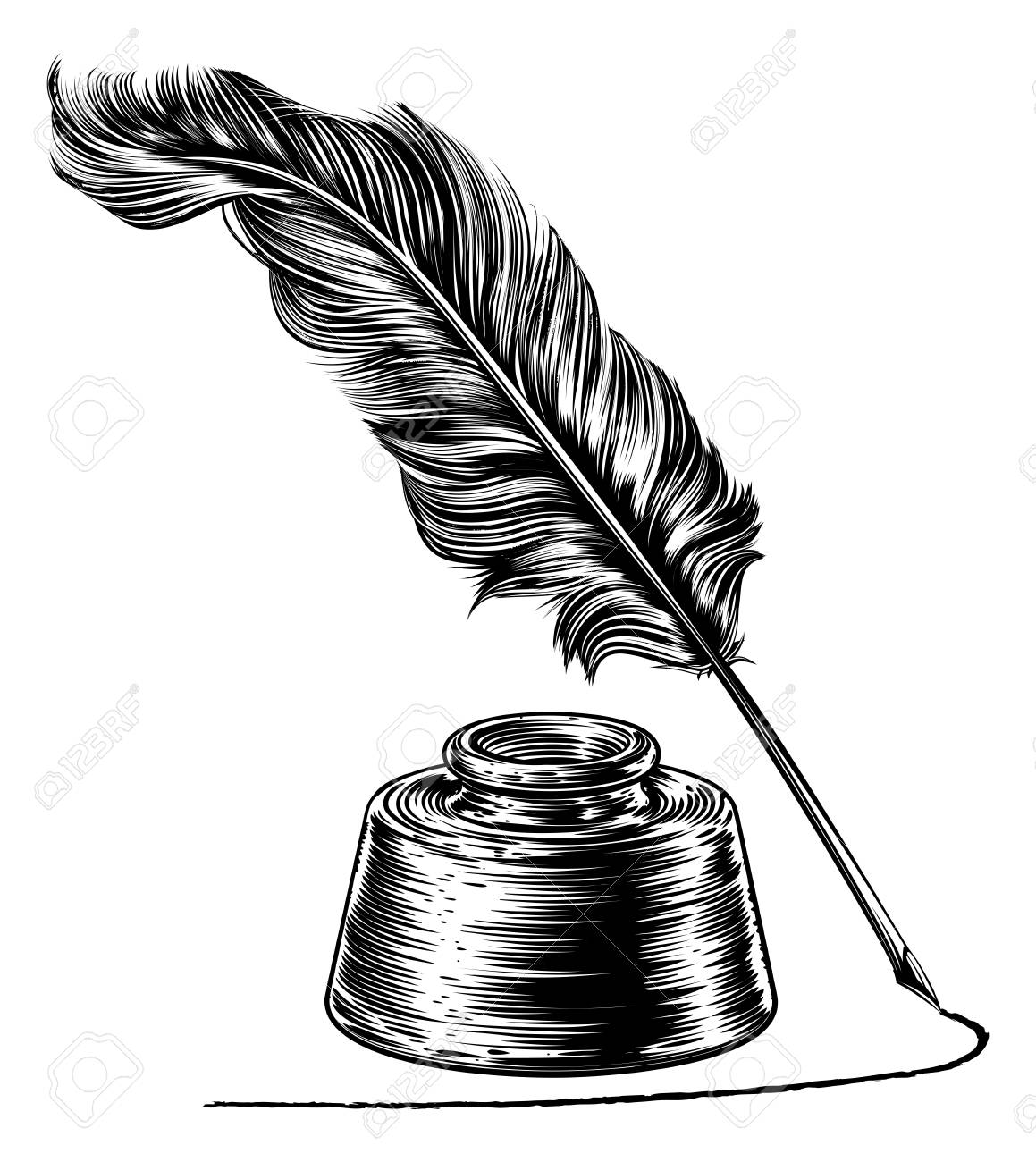 Writing Quill Feather Pen and Ink Well Vector illustration..