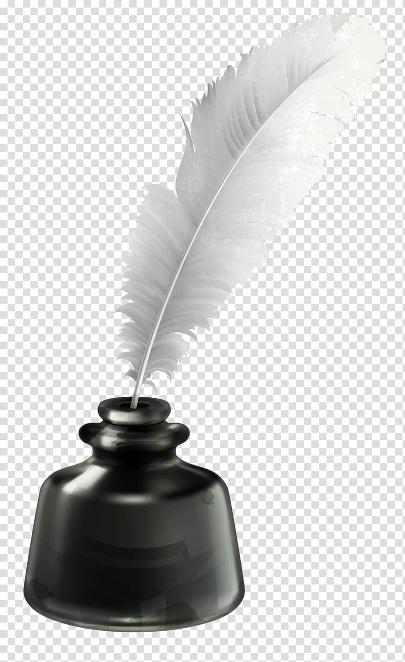 Inkwell Quill , Quill and Ink Pot , white feather pen on.