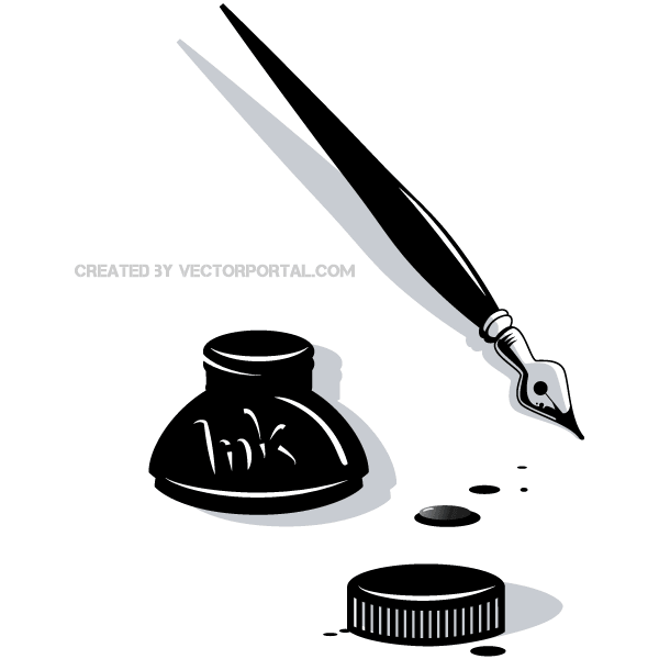 Ink Pen Vector Clip Art.